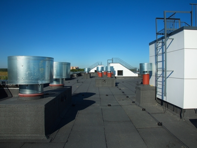 Commercial Roof Access Point WIth Recently Installed Roof And Fixtures